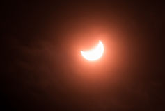 Partial solar eclipse. On 20 of March 2015 in Saint-Petersburg, Russia Royalty Free Stock Image