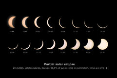 Partial solar eclipse, March 20th, 2015, Lofoten islands, Norway. This picture shows pictures of unique partial solar eclipse in Lofoten, Norway on March 20th stock photo