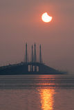 Partial Solar Eclipse in Penang Bridge Malaysia. Beautiful landscape series of sunrise and sunset collection from George Town, Penang, Malaysia Royalty Free Stock Photography