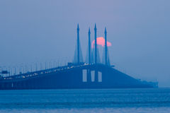 Partial Solar Eclipse in Penang Bridge Malaysia. Beautiful landscape series of sunrise and sunset collection from George Town, Penang, Malaysia Royalty Free Stock Photos