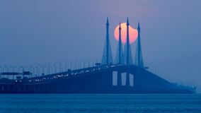 Partial Solar Eclipse in Penang Bridge Malaysia. Beautiful landscape series of sunrise and sunset collection from George Town, Penang, Malaysia Royalty Free Stock Image