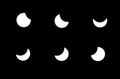 Partial solar eclipse. Phases of partial solar eclipse Stock Photos
