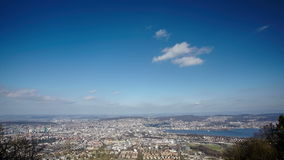 Aerial view of the city of Zurich from Uetliberg hill, timelapse  stock video