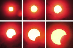 Partial solar eclipse sequencing. Picture of the sun during solar eclipse royalty free stock photo