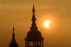 Partial solar eclipse in thailand. Partial solar eclipse in the morning on sunrise from Thailand 7:27 , 9 March 2016 Royalty Free Stock Image