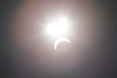 Partial Solare Eclipse Over Dallas Texas Royalty Free Stock Photography