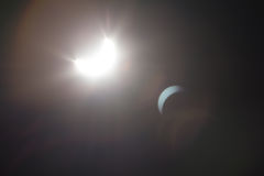 Partial Solare Eclipse Over Dallas Texas Stock Images