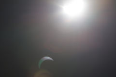 Partial Solare Eclipse Over Dallas Texas Royalty Free Stock Photo