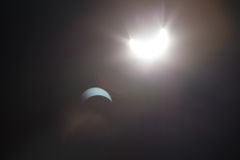 Partial Solare Eclipse Over Dallas Texas Stock Photo