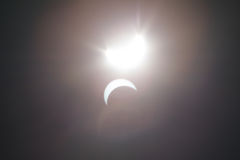 Partial Solare Eclipse Over Dallas Texas Royalty Free Stock Images