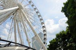 SkyView Atlanta Ferris wheel. Partial upward closeup view of the SkyView Atlanta Ferris wheel, located in downtown Atlanta, Georgia (USA Royalty Free Stock Photo