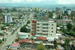 Partial view of Addis Ababa, Ethiopia`s capital in 2012. Buildings and roads in Addis Ababa, Olympia and Dembel City Center area Stock Photography