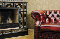 Chair And Fireplace Stock Images