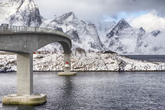 Partial View of Ascending Famous and Renowned Fredvang Bridge in Norway Royalty Free Stock Image