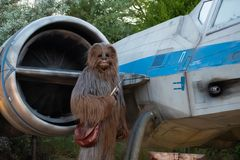 Partial view of Chewbacca on spaceship background in Star Wars Galaxys Edge at Hollywood Studios 7