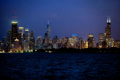 Partial view of Chicago skyline at night Royalty Free Stock Image