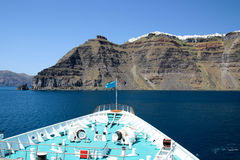 Partial view of a cruise ship with caldeira of Santorin and litt Royalty Free Stock Photo