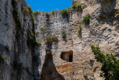 A partial view of Dionysius ear in Syracuse. Sicily Royalty Free Stock Photos