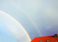 Partial view of double rainbow Royalty Free Stock Photography