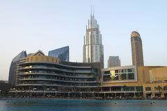 Partial view of Dubai Mall from the fountains. stock photo