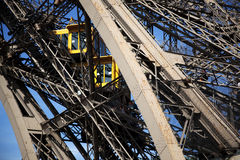 Partial view of the Eiffel Tower Elevator. Partial view of the double elevator in the Eiffel Tower in Paris Royalty Free Stock Image