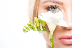 Partial view of elegant blonde woman holding white flower, skincare concept. Close-up partial view of elegant blonde woman holding white flower, skincare concept Royalty Free Stock Photography