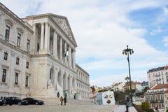 Partial view of the facade of S. Bento Palace, where seats the Portuguese Parliament, Assembleia da República, in Lisbon Royalty Free Stock Photo