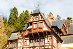 Partial view of the former royal Peles castle, Sinaia, Romania Stock Image