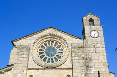 Frontal of the rosette of a church stock photos