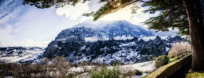 Partial view of Grazalema covered by snow. View of Grazalema from the road after a big snowfall Stock Image
