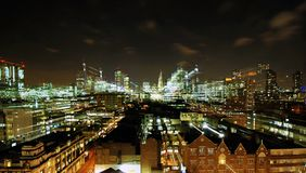 London skyline at night using long shutterspeed and zoom stock photography