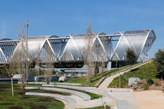 Partial view of the metal bridge in Rio Madrid Stock Photography