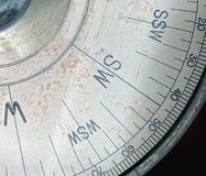 Partial View of an Old Compass Royalty Free Stock Photos
