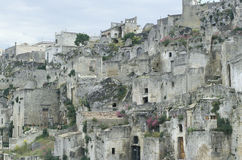 Partial view of the old part of Matera, Italy Stock Images