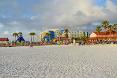 Partial view of Piere 60 area and Hilton Hotel in Gulf Coast Beaches. Clearwater Beach, Florida. January 25, 2019. Partial view of Piere 60 area and Hilton stock photo