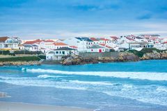 Partial view of Baleal village and Baleal North beach, Peniche, Portugal. Partial view of Portuguese Baleal village and Baleal North Beach, in Peniche area stock photo
