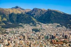 Quito panorama, Ecuador. Partial view of Quito capital of Ecuador and Pichincha volcano Stock Photo