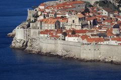 The old city of Dubrovnik. Partial view of the sea fortifications in the historic city of Dubrovnik at the Adriatic coast of Croatia royalty free stock image