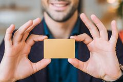 Businessman showing business  card Royalty Free Stock Photos