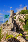 Castelo dos Mouros in Sintra, Portugal. Partial view of the surronding wall and towers at a summer day Royalty Free Stock Photos