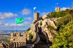 Castelo dos Mouros in Sintra, Portugal. Partial view of the surronding wall and towers at a summer day Royalty Free Stock Image