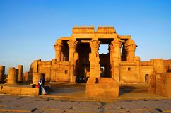 Partial view of the Temple of Kom Ombo, Is an unusual double temple, It was constructed during the Ptolemaic dynasty, 180-47 BC. Partial view of the Temple of Stock Images