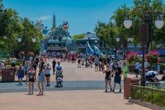 Partial view of Tomorrowland in Magic Kingdom at Walt Disney World area. royalty free stock photos