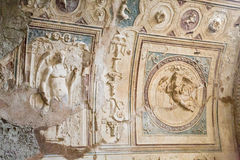 Partial Wall Carvings in Pompeii Royalty Free Stock Images