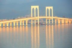 West Bay Bridge, Macau. Partial of West Bay or Xiwan Bridge in sunrise, Macao stock photography