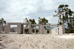 Partially built new homes. Under construction with sand in foreground Royalty Free Stock Image