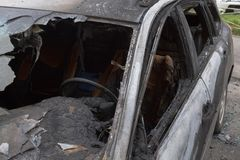 Free Partially Burned Down Car After The Fire, Parts Of Body The Burned Handles Of Doors And The Burst Glasses, Picture Not From Royalty Free Stock Photography - 149578907