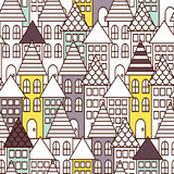 Partially colored outline town seamless pattern. Stock Images