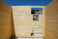 Partially Constructed Wood House Royalty Free Stock Photo