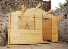 Partially Constructed Wooden Cabin Royalty Free Stock Photo